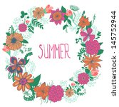 abstract floral wreath. vector... | Shutterstock .eps vector #145752944