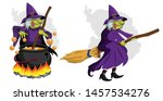 halloween witch on broom and pot | Shutterstock .eps vector #1457534276