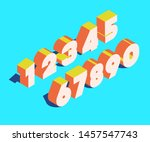 vector isometry number set 3d... | Shutterstock .eps vector #1457547743