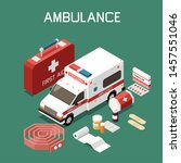 ambulance car and first aid kit ... | Shutterstock .eps vector #1457551046