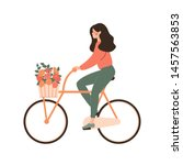 cartoon young woman rides... | Shutterstock .eps vector #1457563853