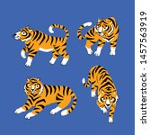set of funny tigers. lying ... | Shutterstock .eps vector #1457563919