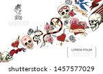 hand drawn tattoo elements... | Shutterstock .eps vector #1457577029