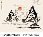 beautiful korea  mountains ... | Shutterstock .eps vector #1457588069