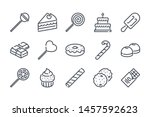 sweet related line icon set....