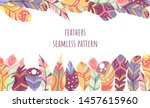 colorful boho feathers  tribal... | Shutterstock .eps vector #1457615960