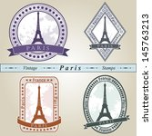 vintage stamp from paris in... | Shutterstock .eps vector #145763213