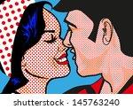 retro hot pop art kissing...   Shutterstock . vector #145763240