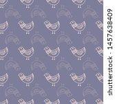 seamless pattern print bird... | Shutterstock . vector #1457638409