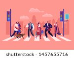 pedestrians people walking on... | Shutterstock .eps vector #1457655716