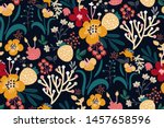 bright floral print with... | Shutterstock .eps vector #1457658596