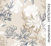 peonies seamless pattern. hand...   Shutterstock .eps vector #1457670416