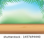 empty wooden table with palm... | Shutterstock .eps vector #1457694440