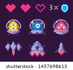space pixel game  spaceship and ... | Shutterstock .eps vector #1457698613