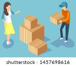 delivery service worker in... | Shutterstock .eps vector #1457698616