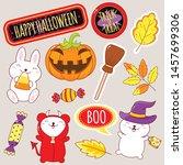 set of cute halloween party... | Shutterstock .eps vector #1457699306