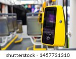 Stock photo transport pos terminal payment for travel in transport validator for applying the ticket non 1457731310