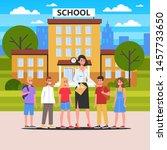 teacher and pupil standing... | Shutterstock .eps vector #1457733650
