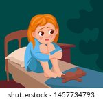 the girl can not sleep. girl...   Shutterstock .eps vector #1457734793