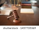 judge gavel with law books and... | Shutterstock . vector #1457735369