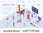 trendy gradient flat isometric... | Shutterstock .eps vector #1457739260