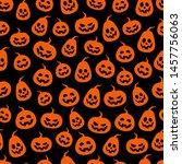 seamless halloween pumpkin... | Shutterstock .eps vector #1457756063