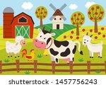 pets stand in the barnyard  ...   Shutterstock .eps vector #1457756243