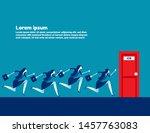 people running to job door.... | Shutterstock .eps vector #1457763083