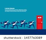 people running to job door.... | Shutterstock .eps vector #1457763089