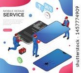 mobile phone repair service....   Shutterstock .eps vector #1457774909