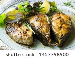 Small photo of grilled fish fillets from the meagre