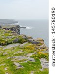 Small photo of Irish landscape - view from Dun Aengus, an ancient fort.