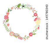 floral frame. cute retro... | Shutterstock .eps vector #145780340