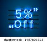 neon frame 5 off text banner.... | Shutterstock .eps vector #1457808923