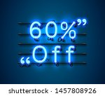 neon frame 60 off text banner.... | Shutterstock .eps vector #1457808926