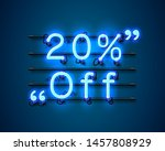 neon frame 20 off text banner.... | Shutterstock .eps vector #1457808929