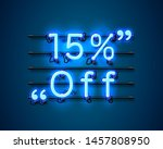 neon frame 15 off text banner.... | Shutterstock .eps vector #1457808950