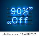 neon frame 90 off text banner.... | Shutterstock .eps vector #1457808959