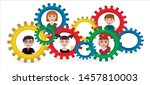 gears. a group of people.... | Shutterstock .eps vector #1457810003