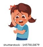 girl hit her head  got injured... | Shutterstock .eps vector #1457813879