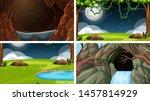 set of scenes in nature setting ... | Shutterstock .eps vector #1457814929