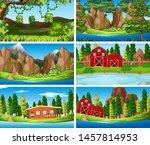 set of scenes in nature setting ... | Shutterstock .eps vector #1457814953