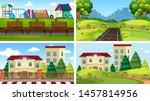 set of scenes in nature setting ... | Shutterstock .eps vector #1457814956