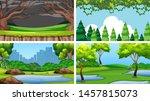 set of scenes in nature setting ... | Shutterstock .eps vector #1457815073