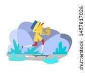 courier character on skate.... | Shutterstock .eps vector #1457817026