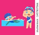 swimming people cartoon... | Shutterstock .eps vector #1457837066