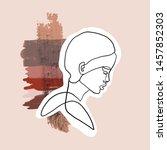 female face silhouette hand... | Shutterstock .eps vector #1457852303