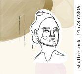 female face silhouette hand... | Shutterstock .eps vector #1457852306