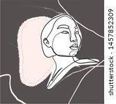 female face silhouette hand... | Shutterstock .eps vector #1457852309