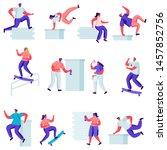 set of flat teenagers making... | Shutterstock .eps vector #1457852756